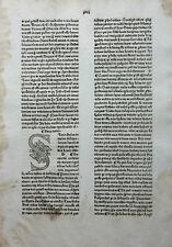 GRITSCH QUADRAGESIMALE INKUNABELBLATT MIT GROSSER S-INITIALE ZAINER ULM 1476