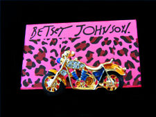 Charm Betsey Johnson Brooch Pin Women's Blue Enamel Crystal Motorcycle