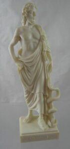 "Greek Asclepius God Medicine Statue Ornament Figurine White Alabaster  8.75"""
