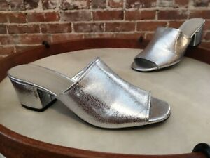 Lori Goldstein Silver Leather Thalessa Peep-toe Slide Sandal 9 SALE Logo