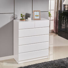 High Gloss White Wooden Tallboy Chest 6 Drawer Cabinet Classic Look 4053WH RENA