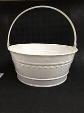 "New Dover M705Pw White Metal Tub Can Pail Bucket With Handle 11"" X 5"""