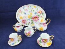 More details for ceramic miniature tea set on a tray spring flowers design.