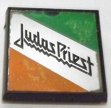 "JUDAS PRIEST Vtg 1970`s Square Glass Mirror Plastic Pin Badge 44mm-1.75"""