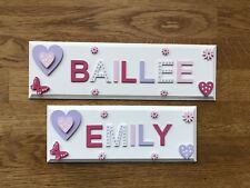 Personalised Wooden Name Plaque/sign For Girls Bedroom Door Wall Or Toy Box