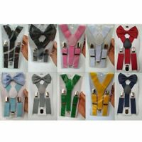 Braces Suspender and Bow Tie Set for Baby Toddler Kids Boys Girls Trend Modern