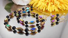 BILDSCHÖNES SET / Collier / Czech. Glas Perlen / Schwarze Bunte GLAS Perlen