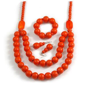 Chunky orange lange Holz Perlen Halskette, Flex Armband und Ohrhänger Set -