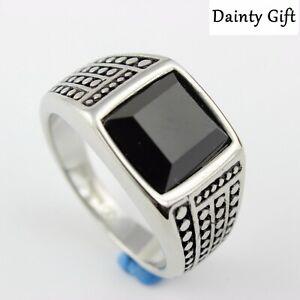 High Quality Black Sandstone Silver Titanium Stainless Steel Ring Men 8-12