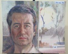 58x47 CM tableau Vintage Autoportrait Du Peintre Gaetano Pancaldi Modena P32