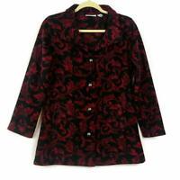 Susan Graver Printed Polar Fleece Button-Front Jacket (Black/Wine, 2XS) A343083