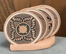 New listing Set Of 4 Terra Cotta Drink Coasters 4 1/4� Round Geometric Southwest Designs