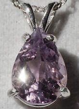 "Purple Amethyst 10x7mm Pear Cut .925 Sterling Silver Pendant 18"" Necklace"