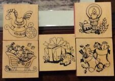 Set Of 5 Christmas Theme Rubber Stamps Horse Present Sleigh Stocking