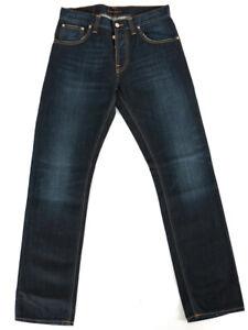 Nudie Herren Regular Straight Fit Jeans   Average Joe Double Dip Indigo