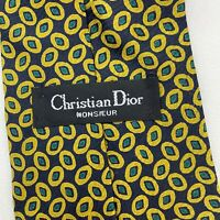 "Christian Dior Monsieur Neck Tie Mens One Size 57"" Classic Black Yellow Tan Silk"