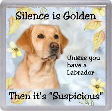 """Labrador Retriever (Yellow) Dog Coaster """"Silence is Golden ..."""" by Starprint"""