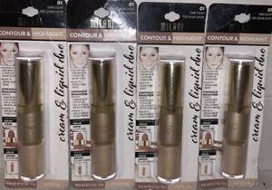 Milani Contour & Highlight Cream/Liquid DUO #01 FAIR-LIGHT New&Sealed Lot Of 4