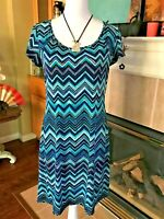 Vintage AB STUDIO Blue Black White Purple Zig Zag Dress Flattering Style - Sz. M
