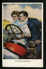 Artist Signed postcard Underwood , Love couple car auto Series 742 D pub. Munk