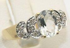 Genuine Diamond & Aquamarine Aqua Ring 14K Gold Brand New Store Buyout