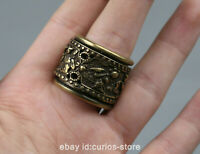 22MM Curio Collection Chinese Bronze Carving Ancient Figure Rotary Finger Ring