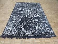 6 X 9'2 Hand Knotted Black Broken Design Silk Oriental Rug With Silk G5937
