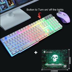 Gaming Keyboard and Mouse Set Rainbow LED USB Illuminated for PC Laptop PS4 Z