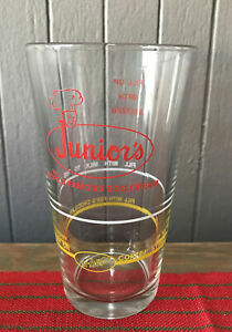 Vintage Junior's World Famous Egg Cream Recipe Glass  Brooklyn