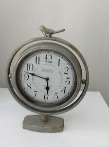 Tabletop Metal Rustic Clock Farmhouse Bird Battery operated