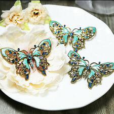 Wholesale 3x Vintage BLUE Butterfly Wedding Bridal Rhinestone Crystal Pin Brooch