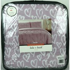 Lala + Bash Ferrah Hearts Twin Duvet and Sham Set Lavender, Limited Edition, New