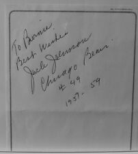 "AUTOGRAPHED ON 5.7"" X 6"" PLAIN PAPER OF NFL FOOTBALL>JACK JOHNSON>CHICAGO BEARS"