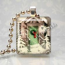 Vintage Christmas Snow Scene Nostalgia Scrabble Tile Pendant Jewelry Charm