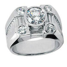 Men's 1.70 ct. Round Cut Diamond Five Stone Pinky Ring in 18 kt Gold Bezel Set