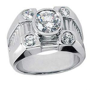 Men's 1.70 ct. Round Cut Diamond Five Stone Pinky Ring in Platinum Bezel Set
