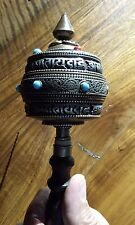 Rare Antique 10 1/2″ Silver Filigree and Copper  Tibetan Buddhist Prayer Wheel