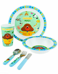 Hey Duggee Dinner Set Kids Tableware Reusable PP Cutlery Plate Bowl Cup
