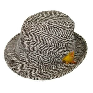 Dobbs Fifth Avenue Men's Herringbone Tweed Wool Size 7 1/4 Trilby Fedora Hat