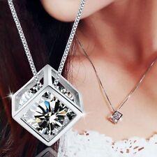 18K White Gold GP Clear White Swarovski Crystal CZ Beauty Necklace Chain Pendant