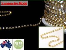 2 Meters x Clear Crystal Diamante Rhinestone encased in Gold Metal Chain, 3mm