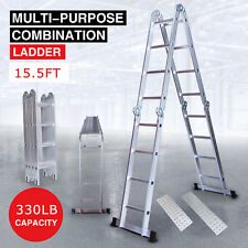 15.5FT Aluminum Telescopic Ladder Extension Multi Purpose Fold Home Industrial