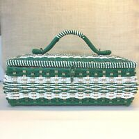 "Vtg Green White Wicker Straw Sewing Basket Large 14.5"" x 9.5"" x  5.5"""
