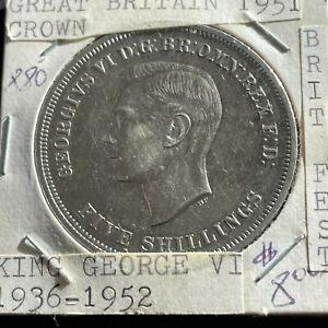 1951 Copper-Nickel Great Britain Crown Five Shillings King George VI