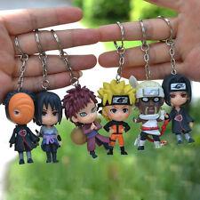 6pcs Set Naruto Keychains Key Chain Ring Pendant Kids Toy Gift Sasuke Manga New