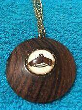 """GOLDTONE CHAIN WOODEN HORSE MOTIF MEDALLION NECKLACE 9"""" CHAIN"""