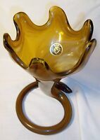 SOONER GLASS TRUMPET ART GLASS AMBER SWIRL VASE WITH LABEL USA 1960S