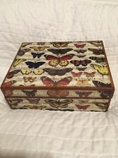 "Annie Modica Painted ""Butterfly"" Wooden Treasure Box,New"