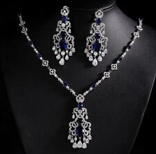 Blue Sapphire Simulated Diamond Stone Necklace Earring Set 18K White Gold Finish