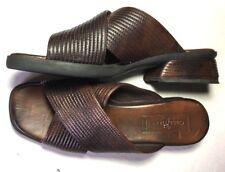 COLE HAAN Women 7.5 Brown Leather Slip On Heel Open Toe Shoes Heel Sandals